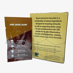rise and grind hot chcolate product and packaging