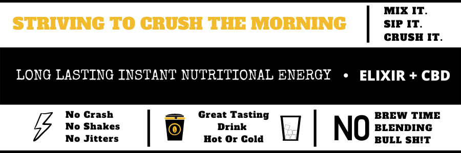 Rise and Grind elixers taste great, provide the body with sustainable energy